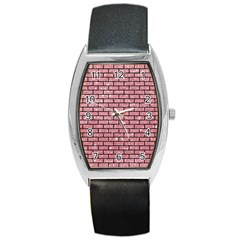 Brick1 Black Marble & Pink Glitter Barrel Style Metal Watch by trendistuff
