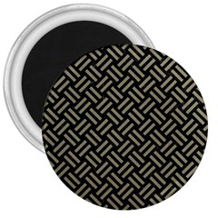 Woven2 Black Marble & Khaki Fabric (r) 3  Magnets by trendistuff