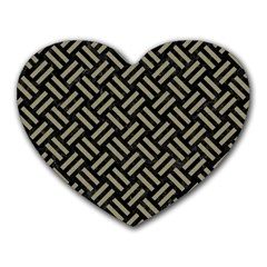 Woven2 Black Marble & Khaki Fabric (r) Heart Mousepads by trendistuff