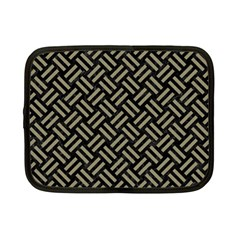 Woven2 Black Marble & Khaki Fabric (r) Netbook Case (small)  by trendistuff