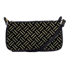 Woven2 Black Marble & Khaki Fabric (r) Shoulder Clutch Bags by trendistuff