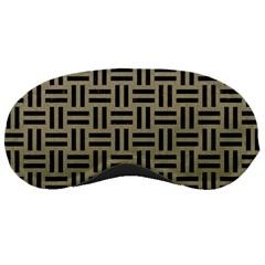Woven1 Black Marble & Khaki Fabric Sleeping Masks by trendistuff