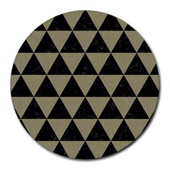 Triangle3 Black Marble & Khaki Fabric Round Mousepads