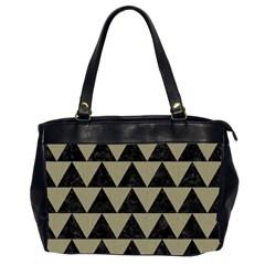 Triangle2 Black Marble & Khaki Fabric Office Handbags (2 Sides)  by trendistuff