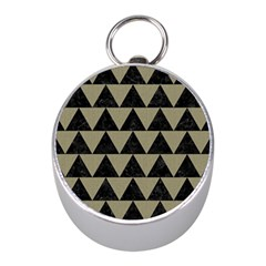 Triangle2 Black Marble & Khaki Fabric Mini Silver Compasses by trendistuff