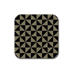 Triangle1 Black Marble & Khaki Fabric Rubber Square Coaster (4 Pack)  by trendistuff