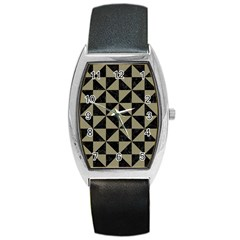 Triangle1 Black Marble & Khaki Fabric Barrel Style Metal Watch by trendistuff