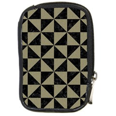 Triangle1 Black Marble & Khaki Fabric Compact Camera Cases by trendistuff