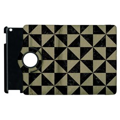 Triangle1 Black Marble & Khaki Fabric Apple Ipad 3/4 Flip 360 Case by trendistuff