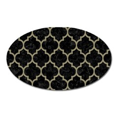 Tile1 Black Marble & Khaki Fabric (r) Oval Magnet by trendistuff