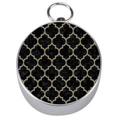 Tile1 Black Marble & Khaki Fabric (r) Silver Compasses by trendistuff