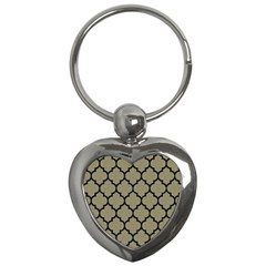 Tile1 Black Marble & Khaki Fabric Key Chains (heart)  by trendistuff