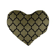 Tile1 Black Marble & Khaki Fabric Standard 16  Premium Heart Shape Cushions by trendistuff