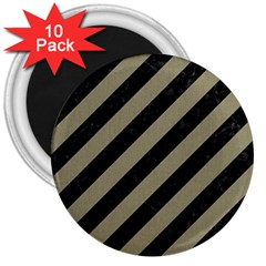 Stripes3 Black Marble & Khaki Fabric (r) 3  Magnets (10 Pack)  by trendistuff