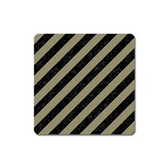Stripes3 Black Marble & Khaki Fabric (r) Square Magnet by trendistuff