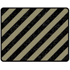 Stripes3 Black Marble & Khaki Fabric (r) Double Sided Fleece Blanket (medium)  by trendistuff