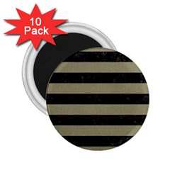 Stripes2black Marble & Khaki Fabric 2 25  Magnets (10 Pack)  by trendistuff