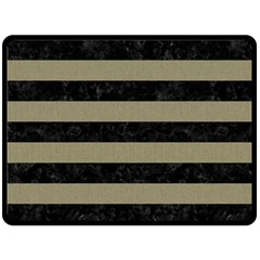 Stripes2black Marble & Khaki Fabric Fleece Blanket (large)  by trendistuff