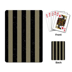 Stripes1 Black Marble & Khaki Fabric Playing Card by trendistuff