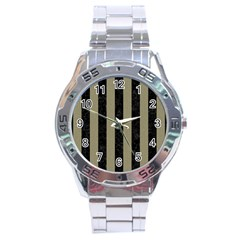 Stripes1 Black Marble & Khaki Fabric Stainless Steel Analogue Watch by trendistuff