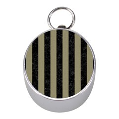 Stripes1 Black Marble & Khaki Fabric Mini Silver Compasses by trendistuff