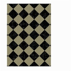 Square2 Black Marble & Khaki Fabric Large Garden Flag (two Sides) by trendistuff
