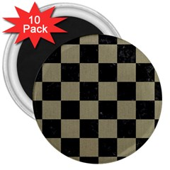 Square1 Black Marble & Khaki Fabric 3  Magnets (10 Pack)  by trendistuff