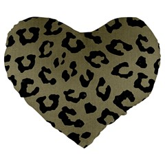 Skin5 Black Marble & Khaki Fabric (r) Large 19  Premium Heart Shape Cushions by trendistuff