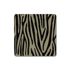 Skin4 Black Marble & Khaki Fabric (r) Square Magnet by trendistuff