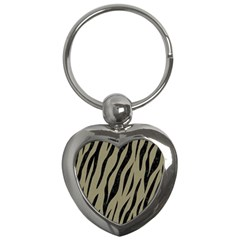 Skin3 Black Marble & Khaki Fabric Key Chains (heart)  by trendistuff