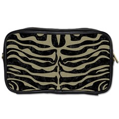Skin2 Black Marble & Khaki Fabric (r) Toiletries Bags by trendistuff