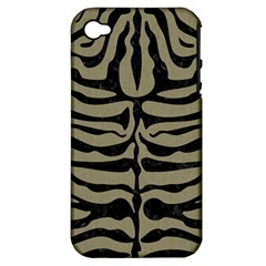 Skin2 Black Marble & Khaki Fabric Apple Iphone 4/4s Hardshell Case (pc+silicone) by trendistuff