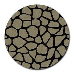 Skin1 Black Marble & Khaki Fabric (r) Round Mousepads by trendistuff