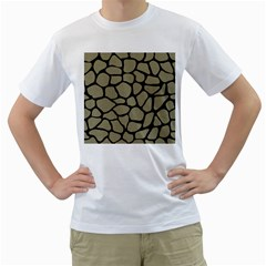 Skin1 Black Marble & Khaki Fabric (r) Men s T Shirt (white) (two Sided) by trendistuff