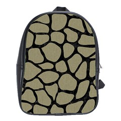 Skin1 Black Marble & Khaki Fabric (r) School Bag (xl) by trendistuff