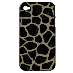 Skin1 Black Marble & Khaki Fabric Apple Iphone 4/4s Hardshell Case (pc+silicone) by trendistuff