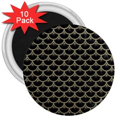 Scales3 Black Marble & Khaki Fabric (r) 3  Magnets (10 Pack)  by trendistuff