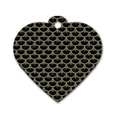 Scales3 Black Marble & Khaki Fabric (r) Dog Tag Heart (one Side) by trendistuff
