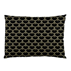 Scales3 Black Marble & Khaki Fabric (r) Pillow Case (two Sides) by trendistuff