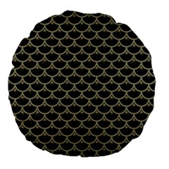 Scales3 Black Marble & Khaki Fabric (r) Large 18  Premium Flano Round Cushions by trendistuff