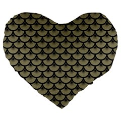 Scales3 Black Marble & Khaki Fabric Large 19  Premium Heart Shape Cushions by trendistuff