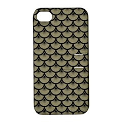 Scales3 Black Marble & Khaki Fabric Apple Iphone 4/4s Hardshell Case With Stand by trendistuff