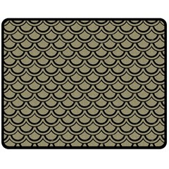 Scales2 Black Marble & Khaki Fabric Double Sided Fleece Blanket (medium)  by trendistuff