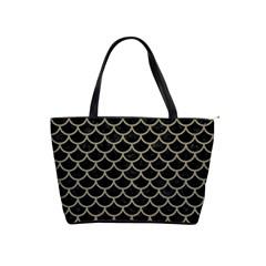 Scales1 Black Marble & Khaki Fabric (r) Shoulder Handbags by trendistuff