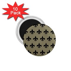 Royal1 Black Marble & Khaki Fabric (r) 1 75  Magnets (10 Pack)  by trendistuff