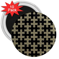 Puzzle1 Black Marble & Khaki Fabric 3  Magnets (10 Pack)  by trendistuff