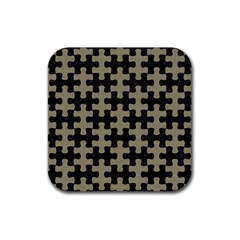 Puzzle1 Black Marble & Khaki Fabric Rubber Square Coaster (4 Pack)  by trendistuff