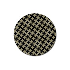 Houndstooth2 Black Marble & Khaki Fabric Magnet 3  (round)