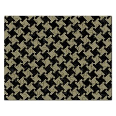 Houndstooth2 Black Marble & Khaki Fabric Rectangular Jigsaw Puzzl by trendistuff
