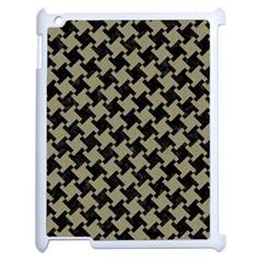 Houndstooth2 Black Marble & Khaki Fabric Apple Ipad 2 Case (white) by trendistuff